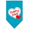 Mirage Pet Products Puppy Love Screen Print Bandana Turquoise Small
