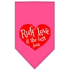 Mirage Pet Products Ruff Love Screen Print Bandana Bright Pink Small