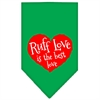 Mirage Pet Products Ruff Love Screen Print Bandana Emerald Green Large