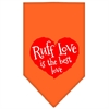 Mirage Pet Products Ruff Love Screen Print Bandana Orange Large