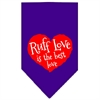 Mirage Pet Products Love is a Four Leg Word Screen Print Bandana Purple Large