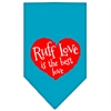 Mirage Pet Products Ruff Love Screen Print Bandana Turquoise Large