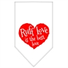 Mirage Pet Products Ruff Love Screen Print Bandana White Large