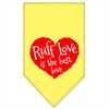 Mirage Pet Products Ruff Love Screen Print Bandana Yellow Large
