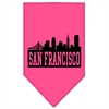 Mirage Pet Products San Francisco Skyline Screen Print Bandana Bright Pink Large
