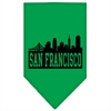 Mirage Pet Products San Francisco Skyline Screen Print Bandana Emerald Green Small
