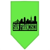 Mirage Pet Products San Francisco Skyline Screen Print Bandana Lime Green Large