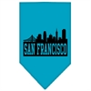 Mirage Pet Products San Francisco Skyline Screen Print Bandana Turquoise Small