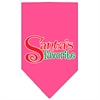 Mirage Pet Products Santas Favorite Screen Print Pet Bandana Bright Pink Size Large