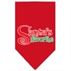 Mirage Pet Products Santas Favorite Screen Print Pet Bandana Red Size Small