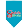 Mirage Pet Products Santas Favorite Screen Print Pet Bandana Turquoise Size Small