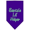 Mirage Pet Products Santa Lil Helper Screen Print Bandana Purple Large