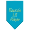 Mirage Pet Products Santa Lil Helper Screen Print Bandana Turquoise Large
