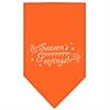 Mirage Pet Products Seasons Greetings Screen Print Bandana Orange Small