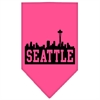 Mirage Pet Products Seattle Skyline Screen Print Bandana Bright Pink Small