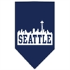 Mirage Pet Products Seattle Skyline Screen Print Bandana Navy Blue Small