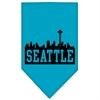 Mirage Pet Products Seattle Skyline Screen Print Bandana Turquoise Small