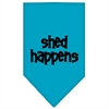 Mirage Pet Products Shed Happens  Screen Print Bandana Turquoise Small
