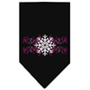 Mirage Pet Products Pink Snowflake Swirls Screen Print Bandana Black Large