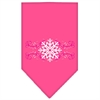 Mirage Pet Products Pink Snowflake Swirls Screen Print Bandana Bright Pink Large
