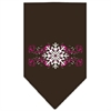 Mirage Pet Products Pink Snowflake Swirls Screen Print Bandana Cocoa Small