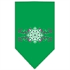 Mirage Pet Products Pink Snowflake Swirls Screen Print Bandana Emerald Green Large