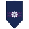 Mirage Pet Products Pink Snowflake Swirls Screen Print Bandana Navy Blue large