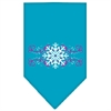 Mirage Pet Products Pink Snowflake Swirls Screen Print Bandana Turquoise Small