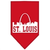 Mirage Pet Products St Louis Skyline Screen Print Bandana Red Large
