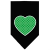 Mirage Pet Products Green Swiss Dot Heart Screen Print Bandana Black Large