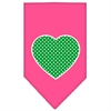Mirage Pet Products Green Swiss Dot Heart Screen Print Bandana Bright Pink Large