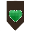 Mirage Pet Products Green Swiss Dot Heart Screen Print Bandana Cocoa Small