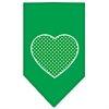 Mirage Pet Products Green Swiss Dot Heart Screen Print Bandana Emerald Green Large
