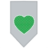 Mirage Pet Products Green Swiss Dot Heart Screen Print Bandana Grey Large