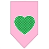 Mirage Pet Products Green Swiss Dot Heart Screen Print Bandana Light Pink Small