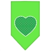 Mirage Pet Products Green Swiss Dot Heart Screen Print Bandana Lime Green Small