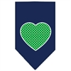 Mirage Pet Products Green Swiss Dot Heart Screen Print Bandana Navy Blue large