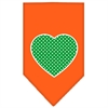 Mirage Pet Products Green Swiss Dot Heart Screen Print Bandana Orange Small