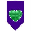 Mirage Pet Products Green Swiss Dot Heart Screen Print Bandana Purple Large