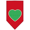 Mirage Pet Products Green Swiss Dot Heart Screen Print Bandana Red Large