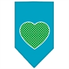 Mirage Pet Products Green Swiss Dot Heart Screen Print Bandana Turquoise Large
