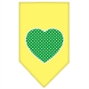 Mirage Pet Products Green Swiss Dot Heart Screen Print Bandana Yellow Large