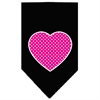 Mirage Pet Products Pink Swiss Dot Heart Screen Print Bandana Black Large