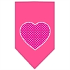 Mirage Pet Products Pink Swiss Dot Heart Screen Print Bandana Bright Pink Large