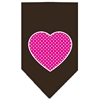 Mirage Pet Products Pink Swiss Dot Heart Screen Print Bandana Cocoa Small