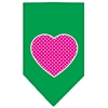 Mirage Pet Products Pink Swiss Dot Heart Screen Print Bandana Emerald Green Large