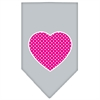 Mirage Pet Products Pink Swiss Dot Heart Screen Print Bandana Grey Large