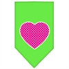 Mirage Pet Products Pink Swiss Dot Heart Screen Print Bandana Lime Green Large
