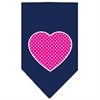 Mirage Pet Products Pink Swiss Dot Heart Screen Print Bandana Navy Blue large