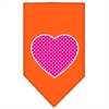 Mirage Pet Products Pink Swiss Dot Heart Screen Print Bandana Orange Small